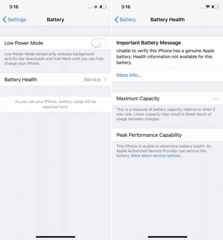 iphone battery service issue